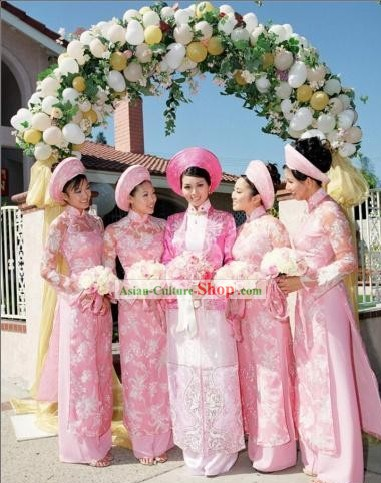 Vietnamese Traditional Bride Wedding Dress Complete Set