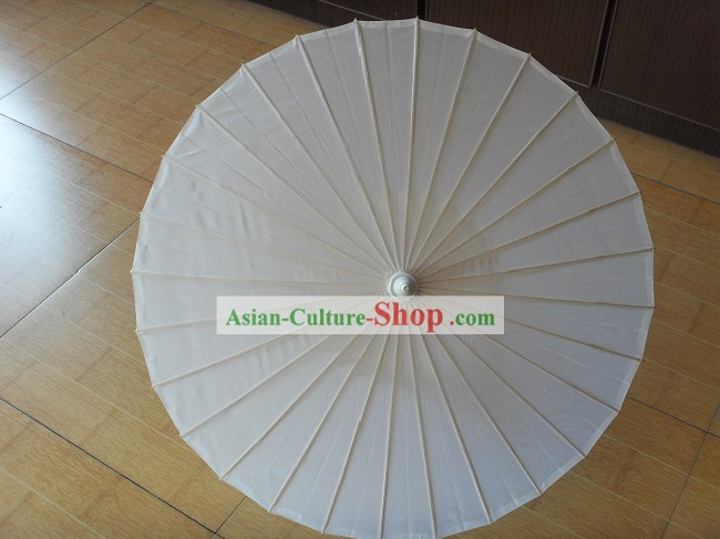 Chinese Hand Made White Silk Umbrella