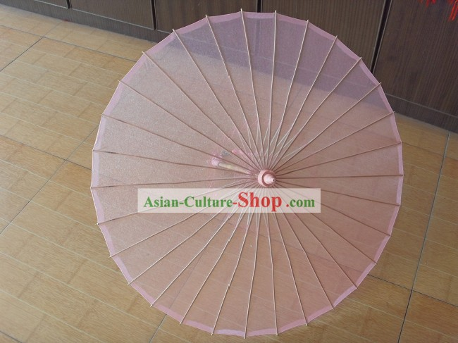 Chinese Hand Made Transparent Pink Silk Dance Umbrella