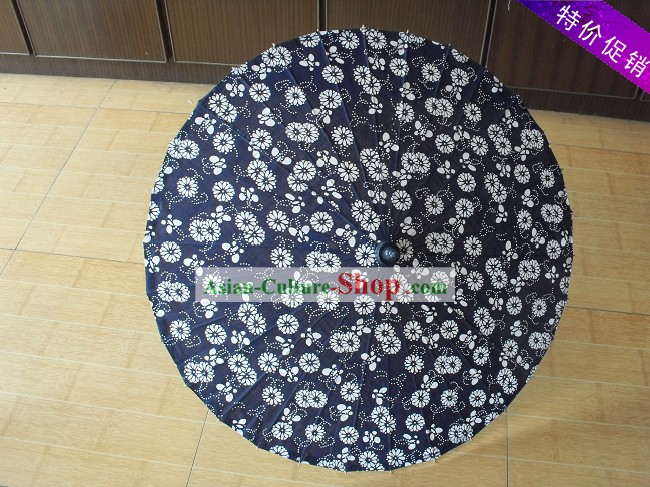 Chinese Hand Made Blue-and-white Silk Dance Umbrella