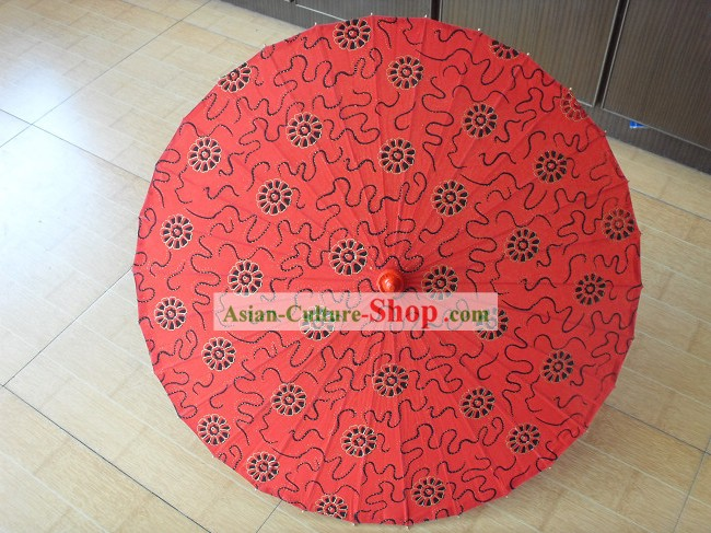 Chinese Traditional Hand Made Red Flower Wedding Umbrella