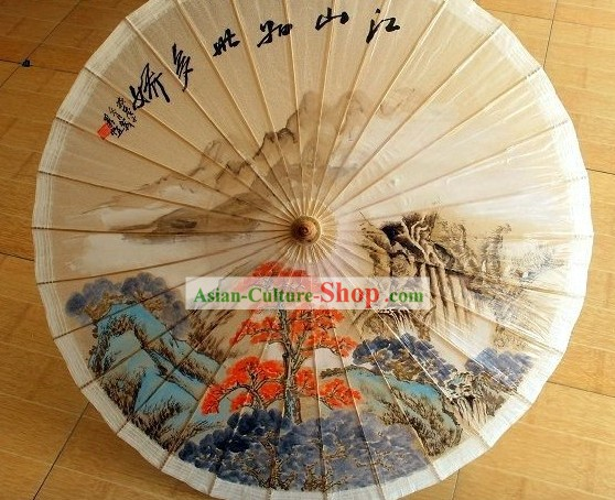 Traditional Chinese Hand Painting Beach, Rain and Sun Umbrella - Jiangnan Landscape