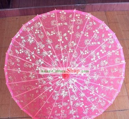 Chinese Handmade Transparent Pink Silk Dance Umbrella