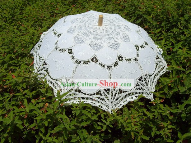 Hand Made White Lace Wedding Umbrella