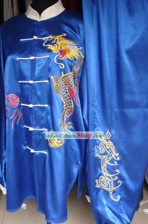 China Martial Arts Tai Chi Embroidered Dragon Blouse and Pants Complete Set