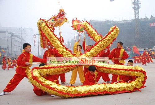 60 Feet Length Chinese Shinning Dragon Dance Costumes Complete Set for Children