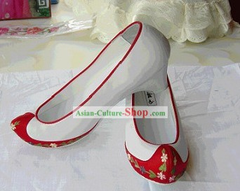 Traditional Embroidered White Korean National Shoes/Children Korean Shoes