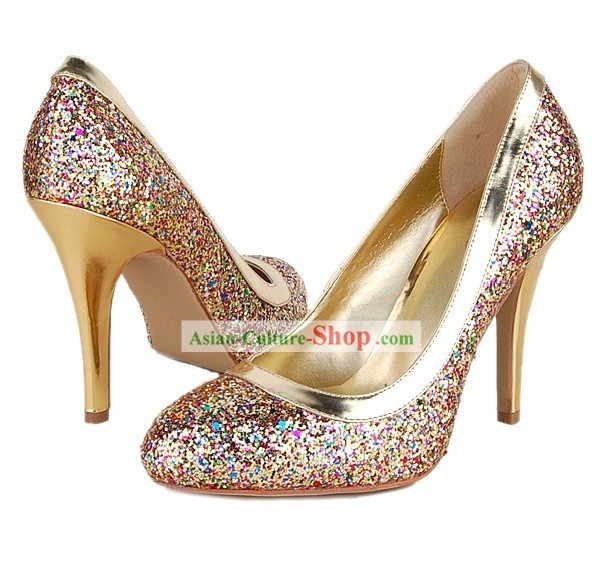 Chinese Traditional Golden Shinning Wedding Shoe