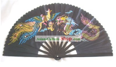 Chinese Traditional Black Phoenix and Dragon Kung Fu Dance Fan