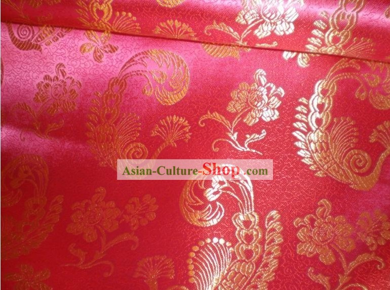 Red Peacock Brocade Fabric