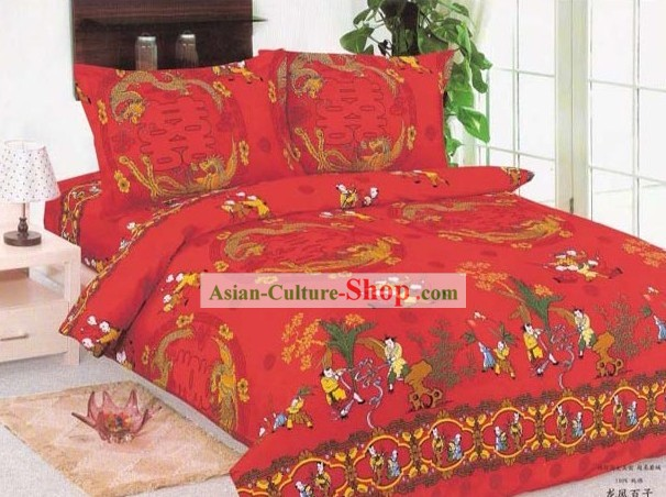 Chinese Traditional Wedding Happiness Bedding Set