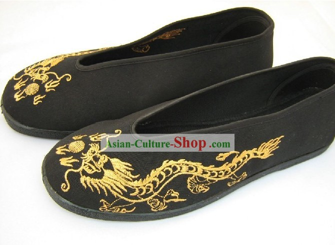 Folk Dragon Wushu Black Cloth Shoes for Men
