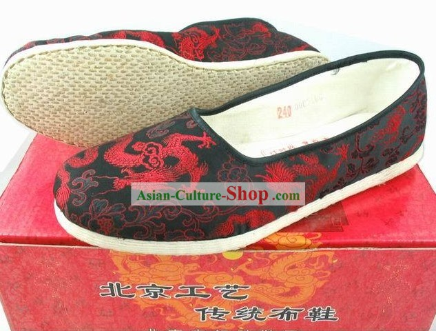 Kung Fu Red and Black Dragon Shoes for Men
