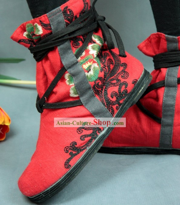Chinese Embroidery Boots/Handmade Red Boots