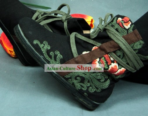 Chinese Embroidered Black Forest Boots