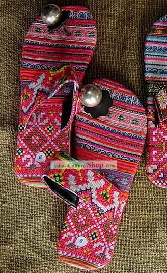 Chinese Handmade Embroidery Shoes of Miao Minority