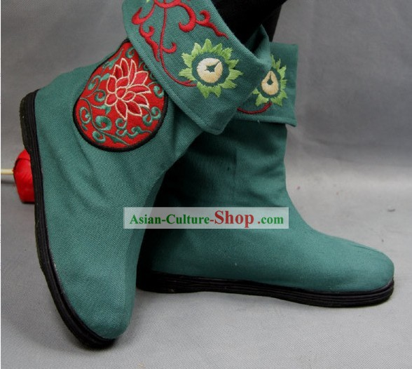 China verde bordada de flores Botas de tela