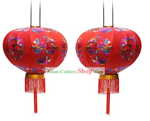 Chinese Ancient Palace Style Silk Lantern Pair