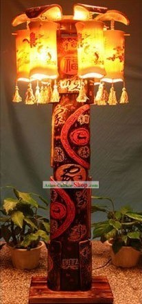 63 Inch Chinese Hand Made Bamboo Floor Lantern
