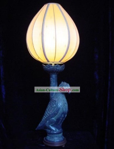 Chinese Antique Style Sunbird Brass Table Lantern