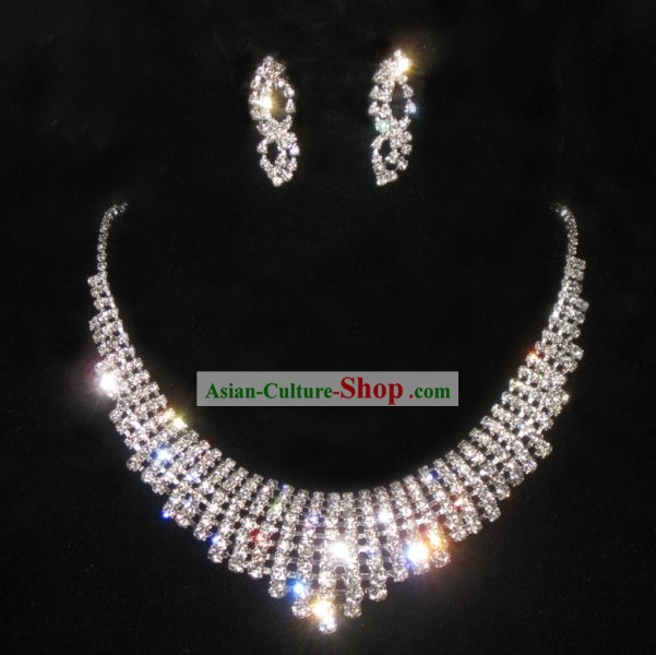 Necklace and Earrings Chinese Wedding Jewelry Set