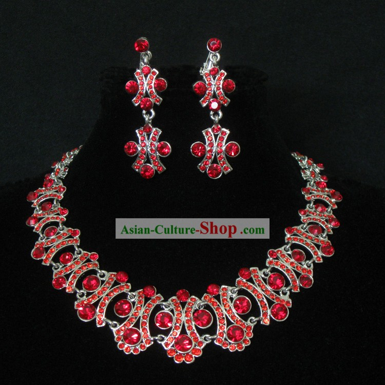 Chinese Traditional Lucky Red Wedding Necklace and Earrings Jewelry Set