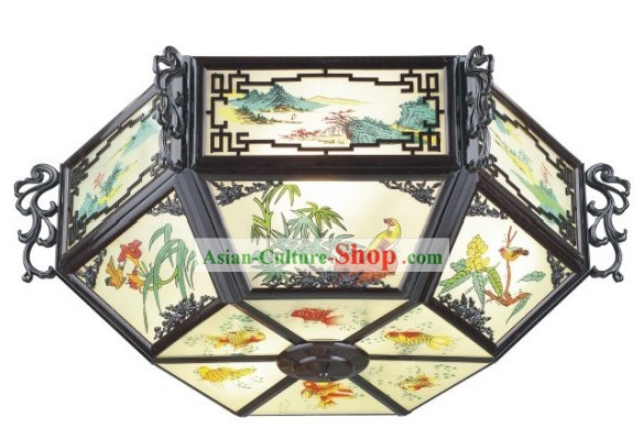 30 Inch Large Birds and Flower Chinese Palace Lantern/Painted Ceiling Lantern