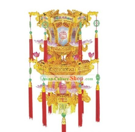 Chinese Three Layers Golden Electric Palace Lantern