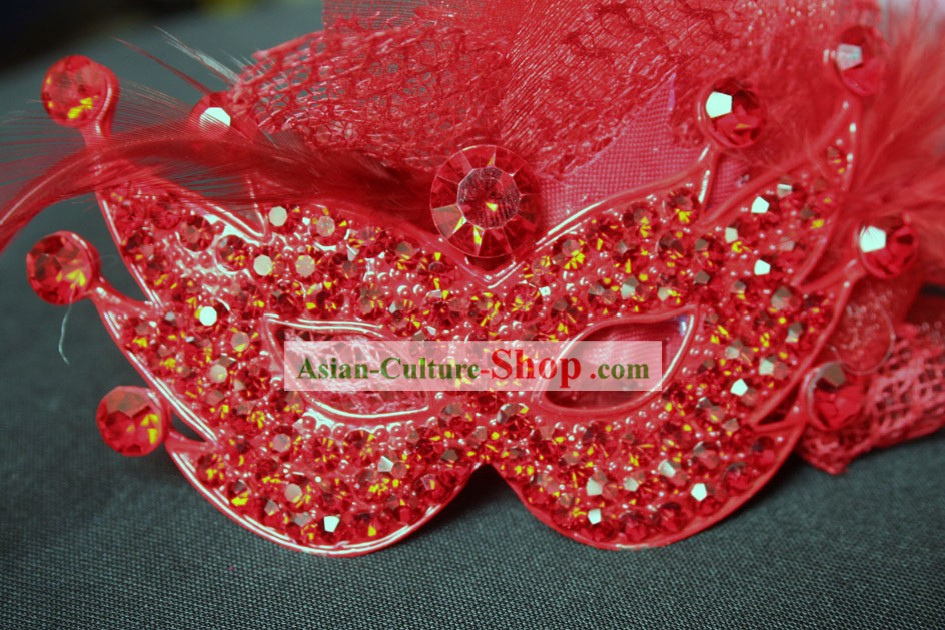 Chinese Classic Red Wedding Mask and Hair Decoration Set