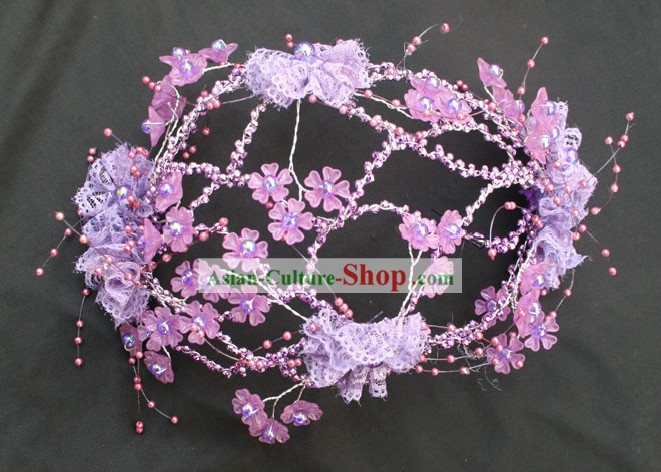 Hand Made Chinese Wedding Purple Hair Decoration Set