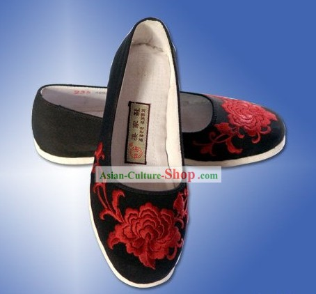 Chinese Handmade and Embroidered Peony Black Cloth Shoes