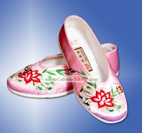 Chinese Traditional Handmade and Embroidered Pink Lotus Cloth Shoes