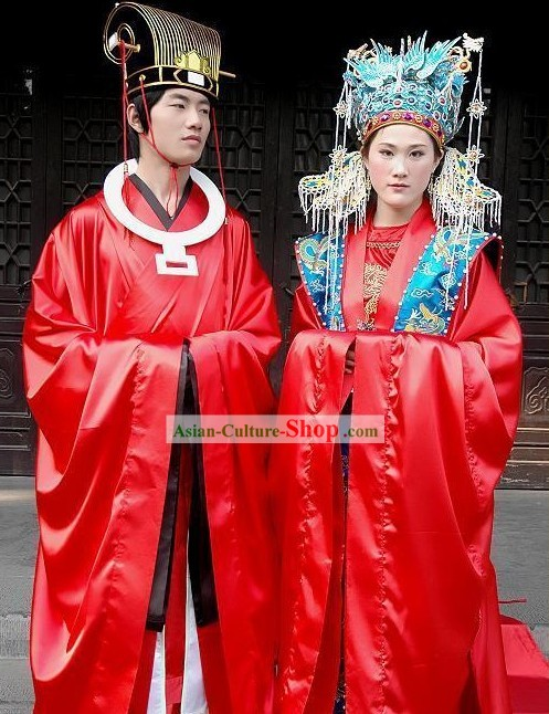 Supreme Chinese Ancient Cantonese Wedding Dress Male and Female 2 Complete Sets