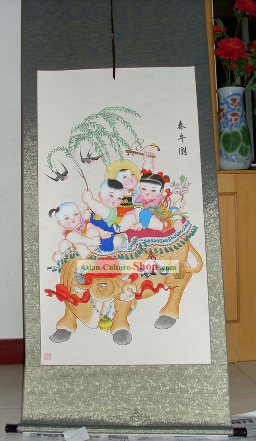 Chinese Traditional Painting/Yangliuqing Folk Painting - Cow and Children