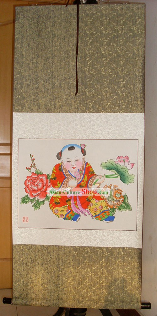 Chinese Traditional Tianjin Yangliuqing Figure Paintings - Four Seasons Flower