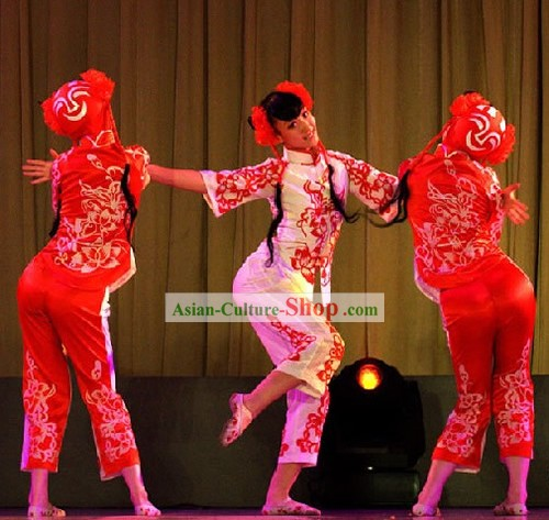 Traditional Chinese Dance Papercutting Girls Costumes Complete Set