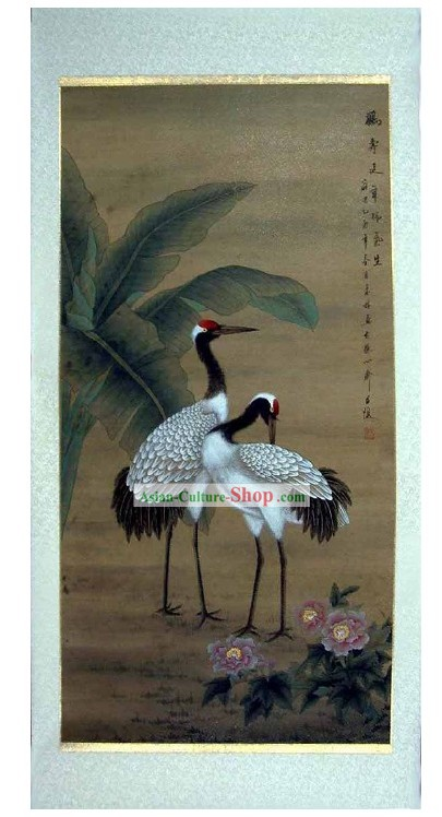 Traditional Chinese Painting Crane by He Lin