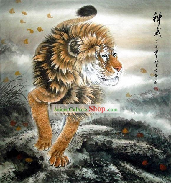 Traditional Chinese Lion Painting by He Dahai