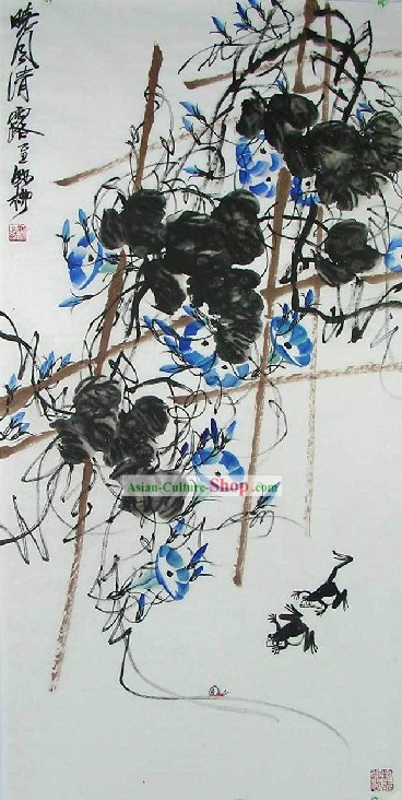 Chinese Paintings of Morning Glory by Ye Liu