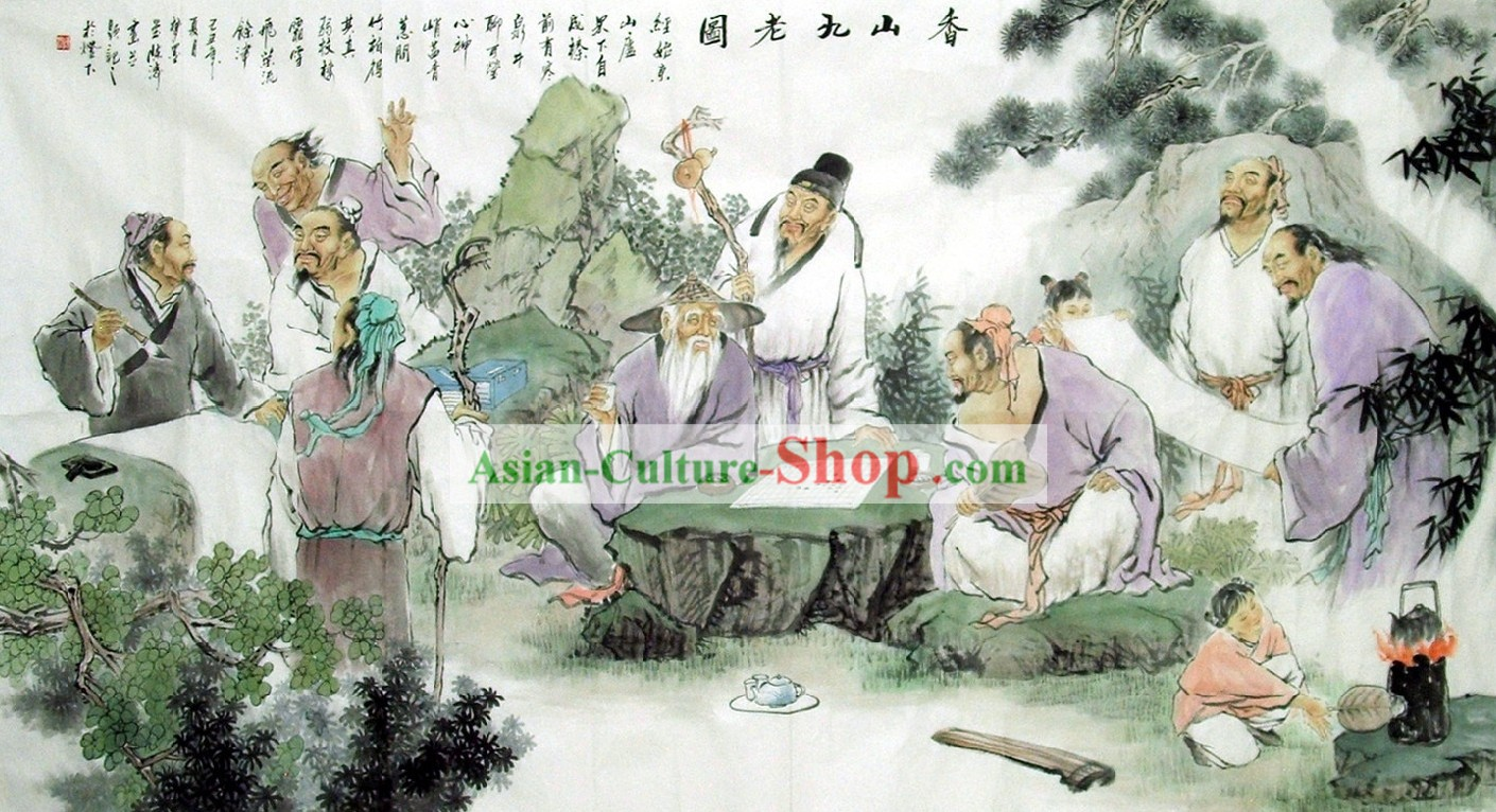 Chinese Figure Painting - Nine Old Men Live Inside Xiang Mountain