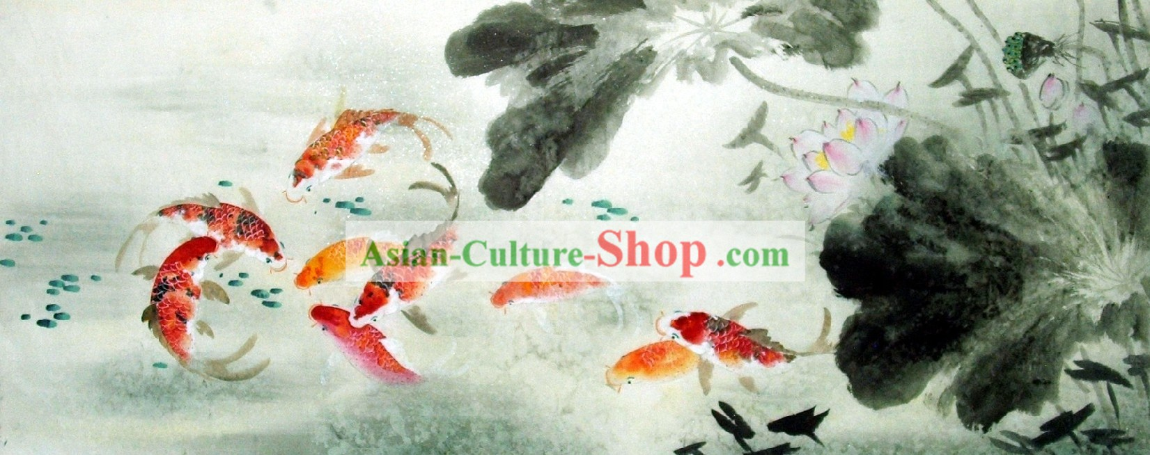 Traditional Chinese Painting Carp by Liu Lanting