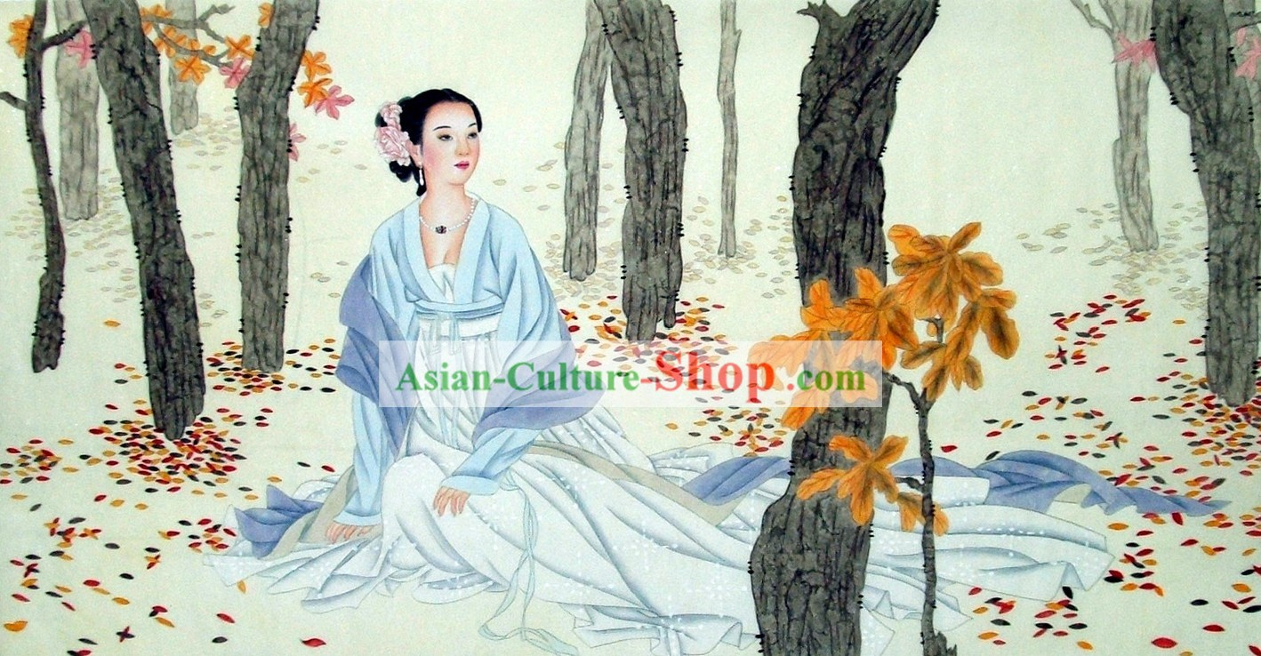 Traditional Chinese Women Paintings by Liu Lanting