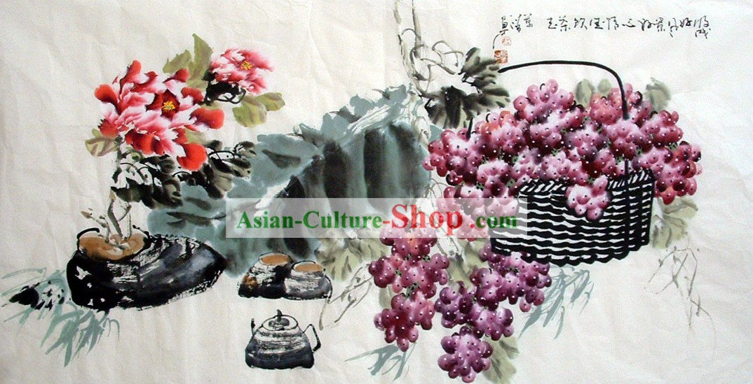 Traditional Chinese Painting - Grape Basket by Liang Wanqing