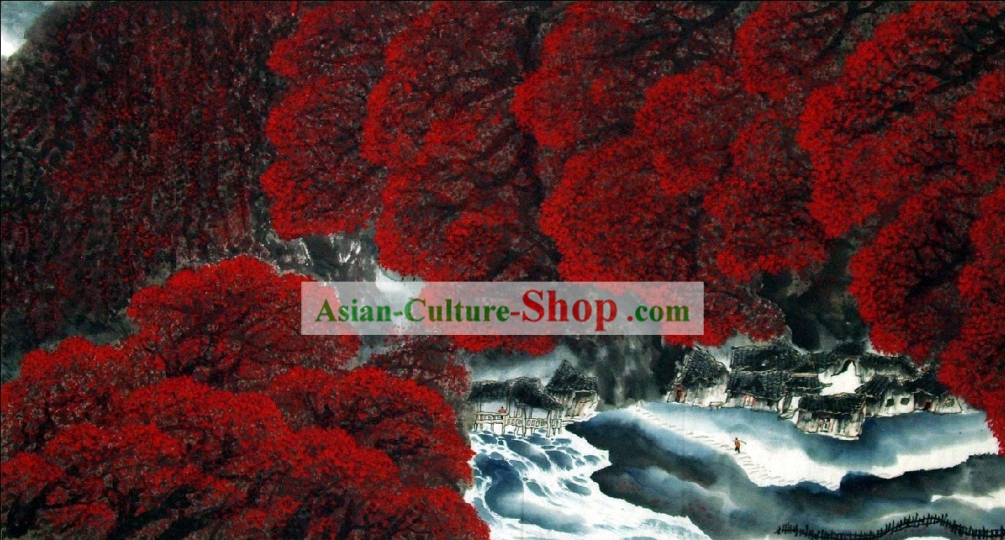 Traditional Chinese Scenery Painting - Red Autumn Forest by Wu Zhaohua