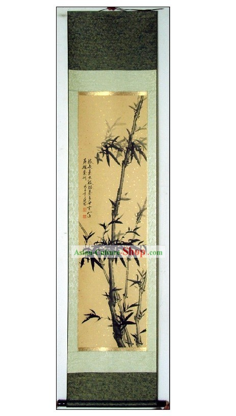 Traditional Chinese Bamboo Painting by Qin Rilong