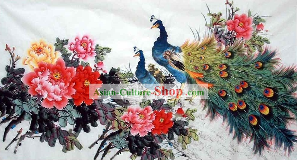 Pintura Tradicional China - Peacock y China National flor de peonía