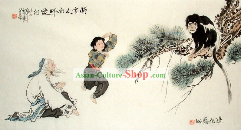 Traditional Chinese Painting - Monkey and Men by Xu Yan