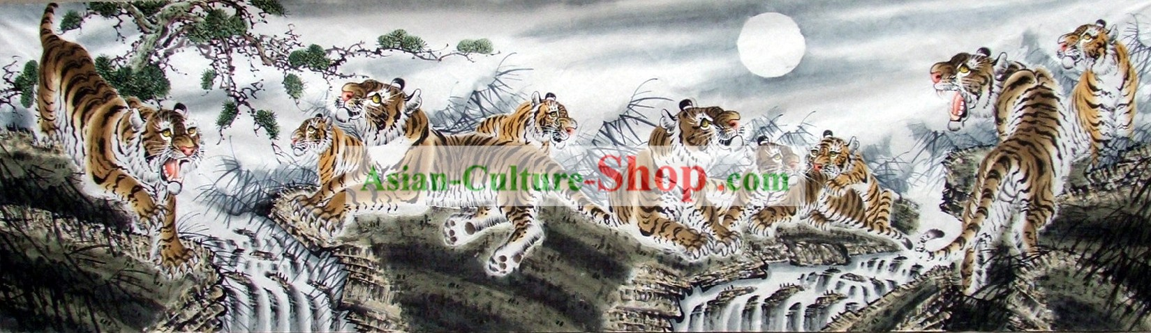 Tradicional China King Tiger Pintura familia de Wang Yongchang