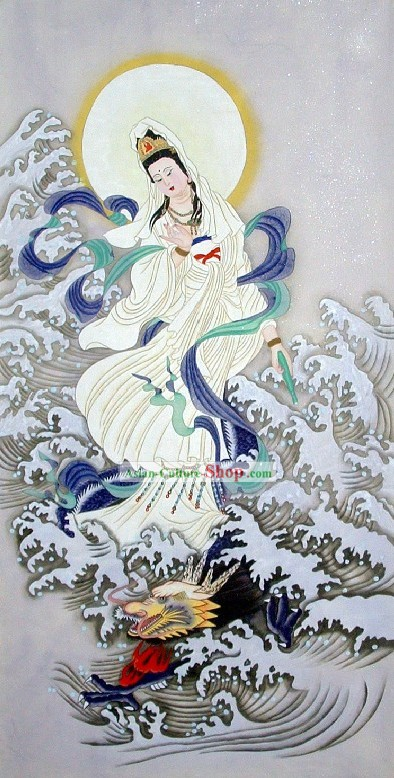 Traditional Chinese Painting - Kwan-yin and Dragon by Qing Shaoping