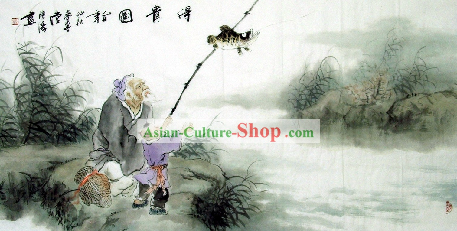 Traditional Chinese Painting - Grandfather Fishing by Chen Tao